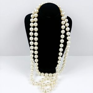 """Vintage ivory faux string pearl necklace 46"""""""